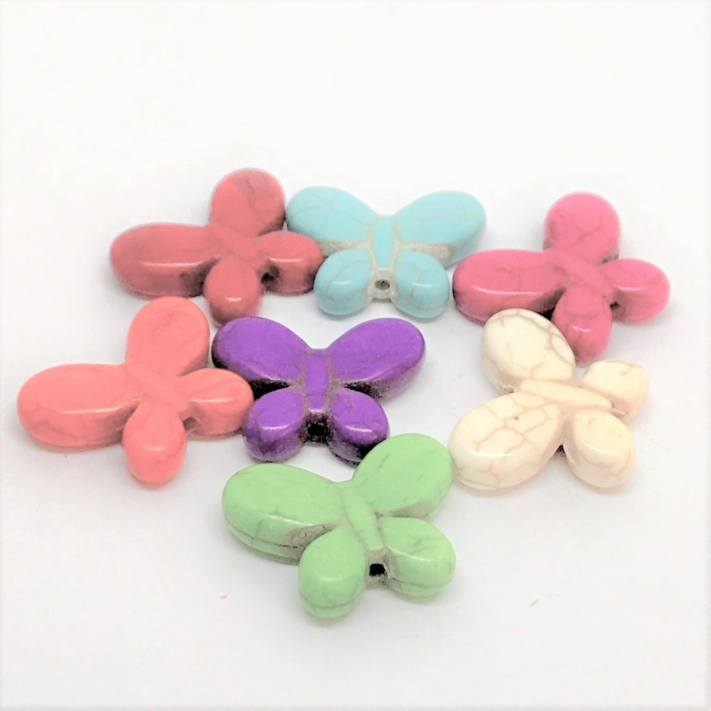 Butterfly Howlite Bead<br>Assorted Colours<br>Medium (20mm x 25mm)