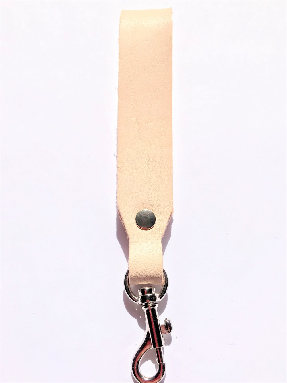 Trigger Hook Key Ring<br>Natural Leather<br>25mm x 140mm