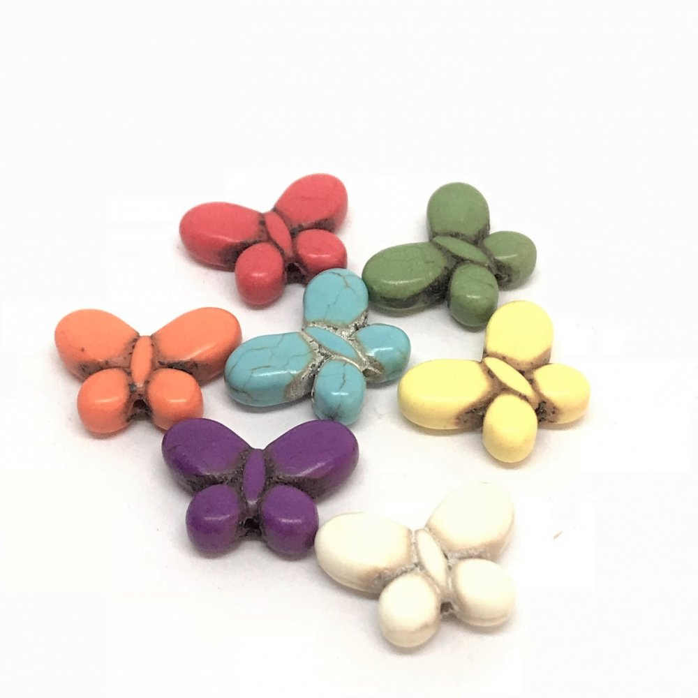 Butterfly Howlite Bead<br>Assorted Colours<br>Small (15mm x 20mm)