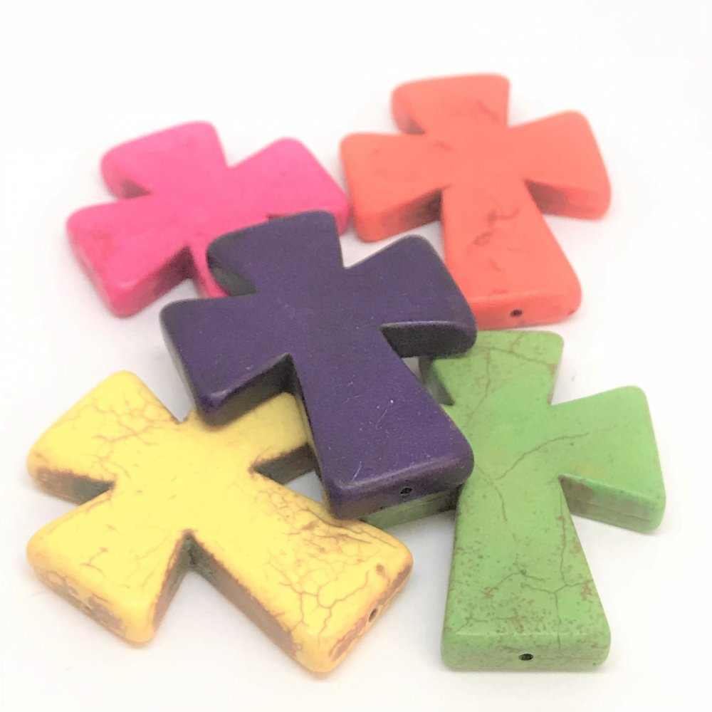 Cross Howlite Bead<br>Assorted Colours<br>Large (40mm x 50mm)