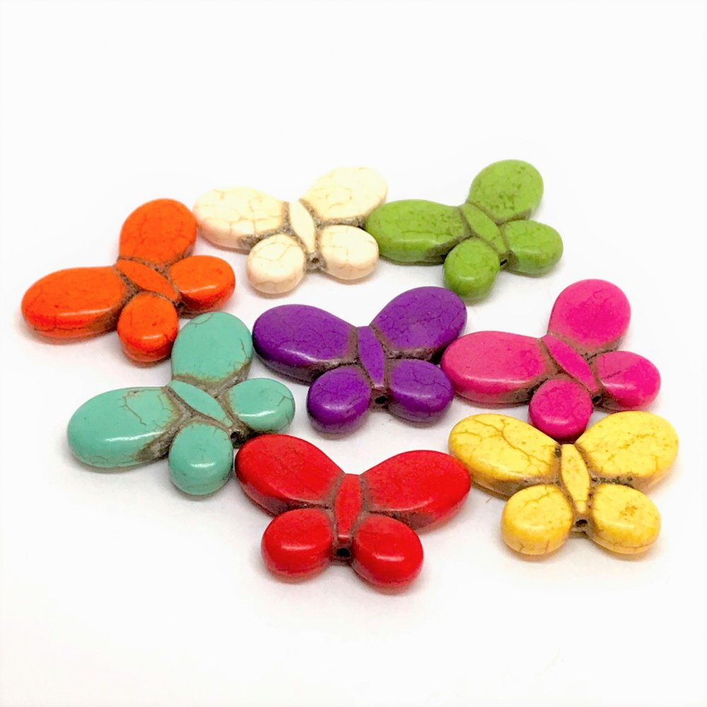 Butterfly Howlite Bead<br>Assorted Colours<br>Large (25mm x 35mm)