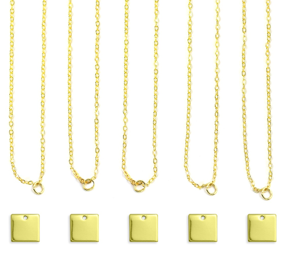 Personal Impressions<br>Square - 5 Pieces<br>Gold Plated