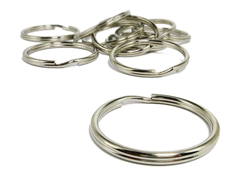 Split Key Ring - Nickel Plated<br>Outer 35mm / Inner 32mm<br>10 Pack