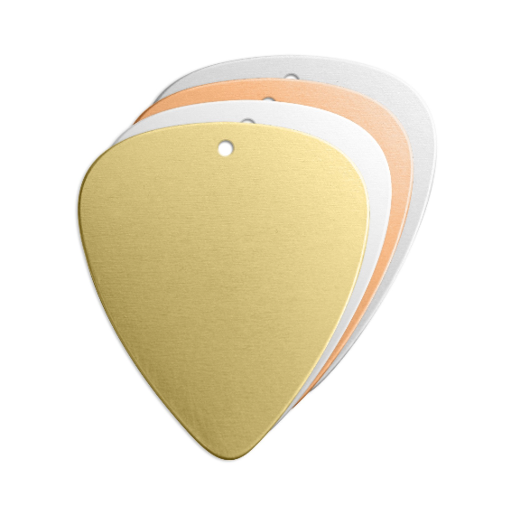 Guitar Pick + Hole (Large)<br>Premium Stamping Blank<br>30mm x 25mm