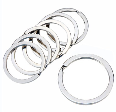 Split Key Ring, Flat<br>Nickel Plated - 32mm<br>5 Pack