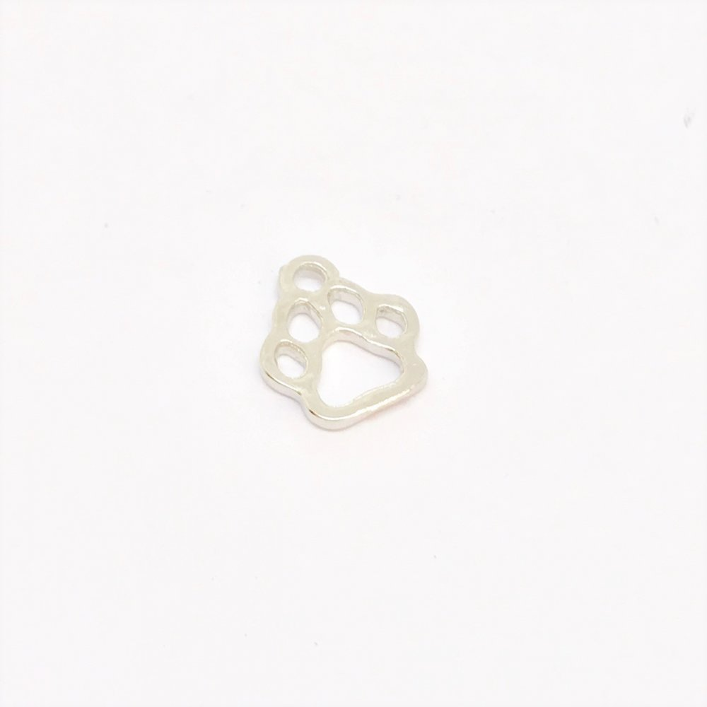 Dog Paw Outline Charm<br>Metal<br>10mm