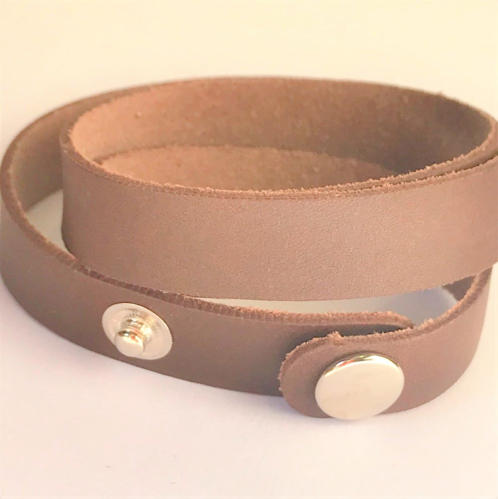 Wrap Around Wrist Strap<br>Bark Leather<br>15mm x 570mm (Small)