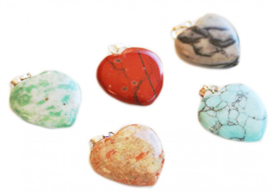 Stone Heart Pendant<br>Assorted Natural Colours<br>20mm