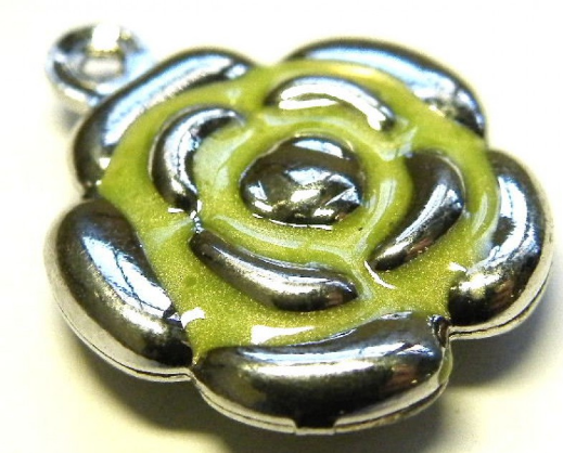 Cloisonne Flower Charm<br>Green/Nickel Silver<br>18mm