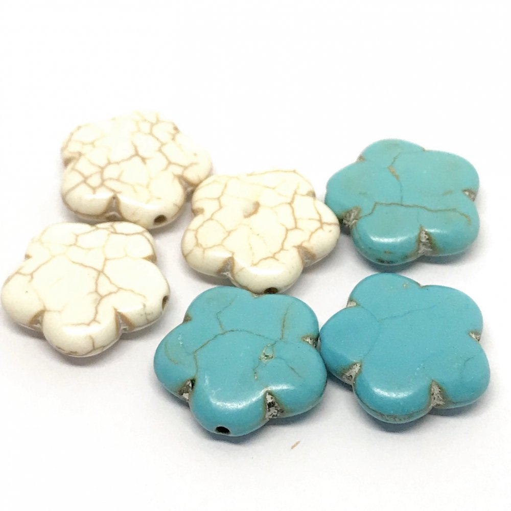 5 Petal Flower Howlite Bead<br>Assorted Colours<br>20mm